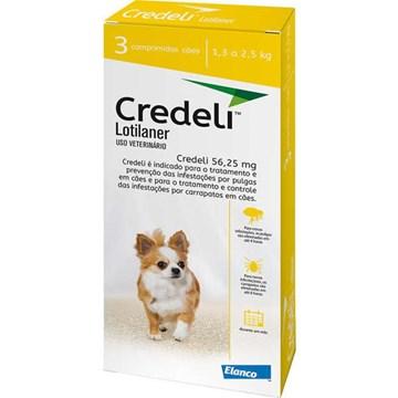 Antipulgas e Carrapatos Elanco Credeli 56,25 mg para Cães de 1,3 a 2,5 Kg