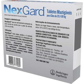 Antipulgas e Carrapatos NexGard 136 mg para Cães de 25,1 a 50 Kg