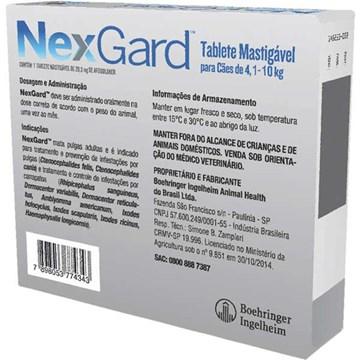 Antipulgas e Carrapatos NexGard 28,3 mg para Cães de 4,1 a 10 Kg