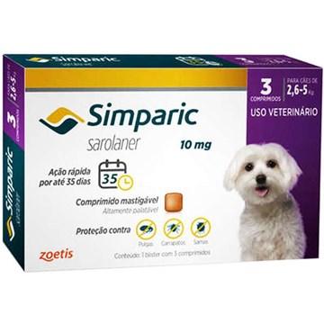 Antipulgas Zoetis Simparic 10 mg para Cães de 2,6 a 5 Kg