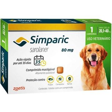 Antipulgas Zoetis Simparic 80 mg para Cães de 20,1 a 40 Kg