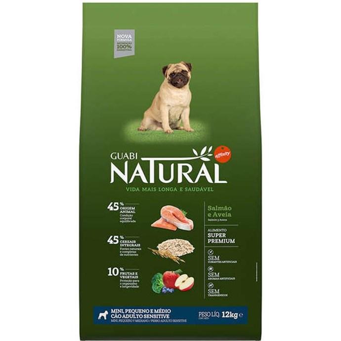 Ração Affinity Guabi Natural Sensitive Salmão e Aveia Cães Adultos Raças Mini, Pequeno e Médio 12 Kg