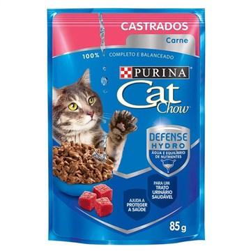 Ração Nestlé Purina Cat Chow Castrados Sachê Carne ao Molho 85 Gr