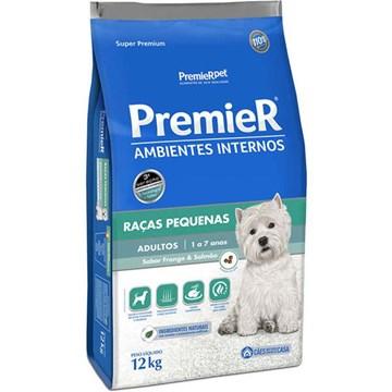 Ração Premier Pet Ambientes Internos Cães Adultos Frango e Salmão
