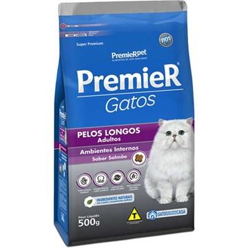 Ração Premier Pet Gatos Ambientes Internos Pelos Longos Adultos Salmão