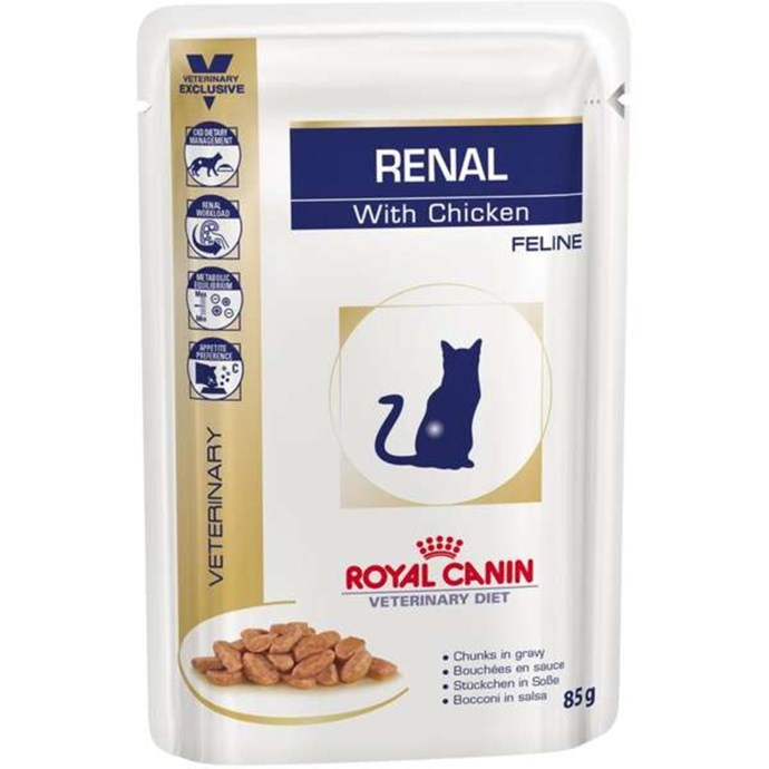 Ração Royal Canin Sachê Feline Veterinary Diet Renal Frango para Gatos com Doença nos Rins