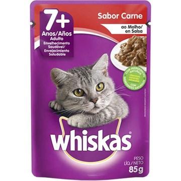 Ração Úmida Whiskas Sachê Carne ao Molho para Gatos Sênior 7 + Anos