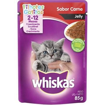Ração Úmida Whiskas Sachê Carne Jelly para Gatos Filhotes