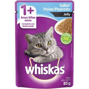 Ração Úmida Whiskas Sachê Peixe Jelly para Gatos Adultos