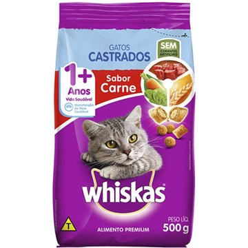 Ração Whiskas Carne para Gatos Adultos Castrados